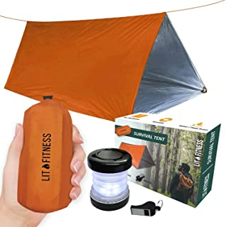 LIT FITNESS Survival Tent Emergency Shelter with Titan Paracord, 2 Person Survival Kit Mylar Tent Includes Survival Lamp a...