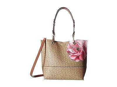 Calvin Klein Sonoma Printed Floral Monogram Tote (Khaki/Brown/Luggage Floral) Handbags