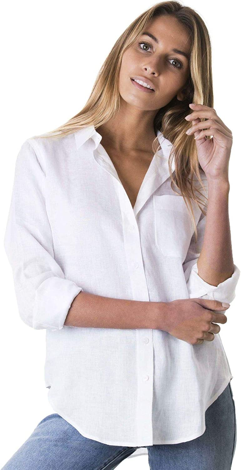 Max Mail order 89% OFF CAMIXA Womens Classic Linen Shirt Button Blouse Loose Down Sleev