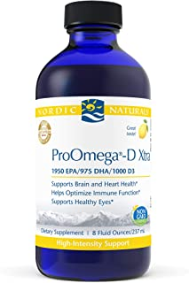 Nordic Naturals ProOmega-D Xtra Liquid, Lemon Flavor - 3400 mg Omega-3 + 1000 IU D3-8 oz - High-Potency Fish Oil - EPA & D...