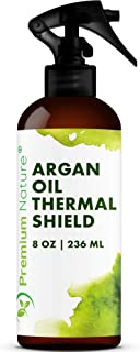 Argan Oil Hair Protector Spray - Thermal Heat Protectant For Styling Treatment Against Flat Iron & Hot Blow Dry - 100% Natural Prevents Damage Dryness Breakage & Split Ends Premium Nature 8 oz