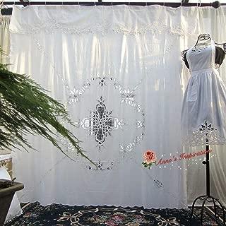 FidgetFidget Beautiful Battenburg Lace Shower Curtain B~White~Cotton~72