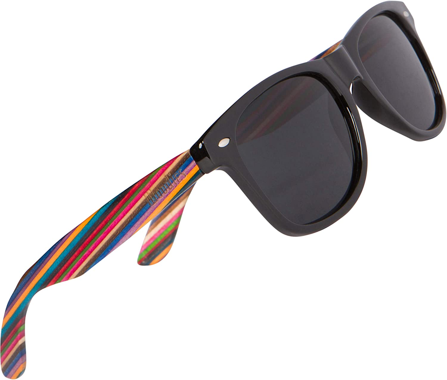 WOODIES Polarized Rainbow Wood Sunglasses for Men and Women | Black Polarized Lenses and Real Wooden Frame | 100% UVA/UVB Ray Protection