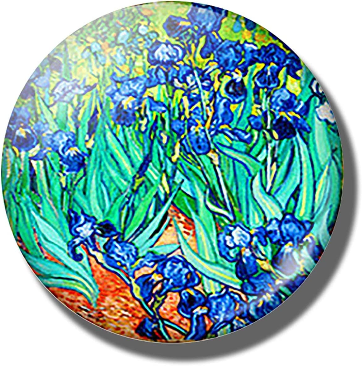 Refrigerator specialty shop Magnets Art Painting Glass Round Flower Raleigh Mall Patte Retro