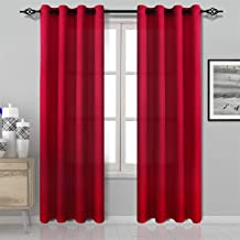 DWCN Red Curtains Bright Faux Silk Country Modern Style Draperies 8 Grommets Window Curtain Panel 52x84 inch (Set of 2 Panels) Curtains for Bedroom/Kitchen/Dinning Room/Living Room