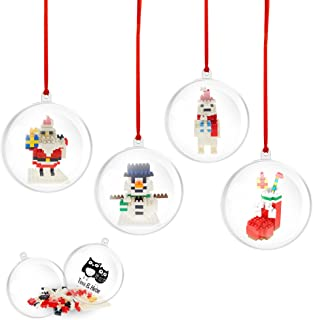 Timi&Hebe 4pcs Clear Christmas Ball Ornaments Filled with Assembly Christmas Building Block Sets Block Toy for Christmas T...