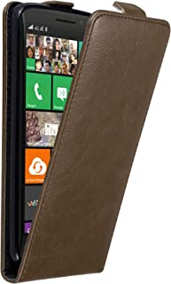 Cadorabo Case Works with Nokia Lumia 930 in Coffee Brown – Flip Style Case with Invisible Magnetic Closure – Wallet Etui C...
