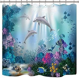 Riyidecor Dolphin Shower Curtain Underwater Algaes Coral Reefs Sunbeam Tropical Fish Marine Wildlife Ocean Animal Seabed Bathroom Decor Fabric Polyester Waterproof 72x72 Inch 12 Pack Plastic Hooks