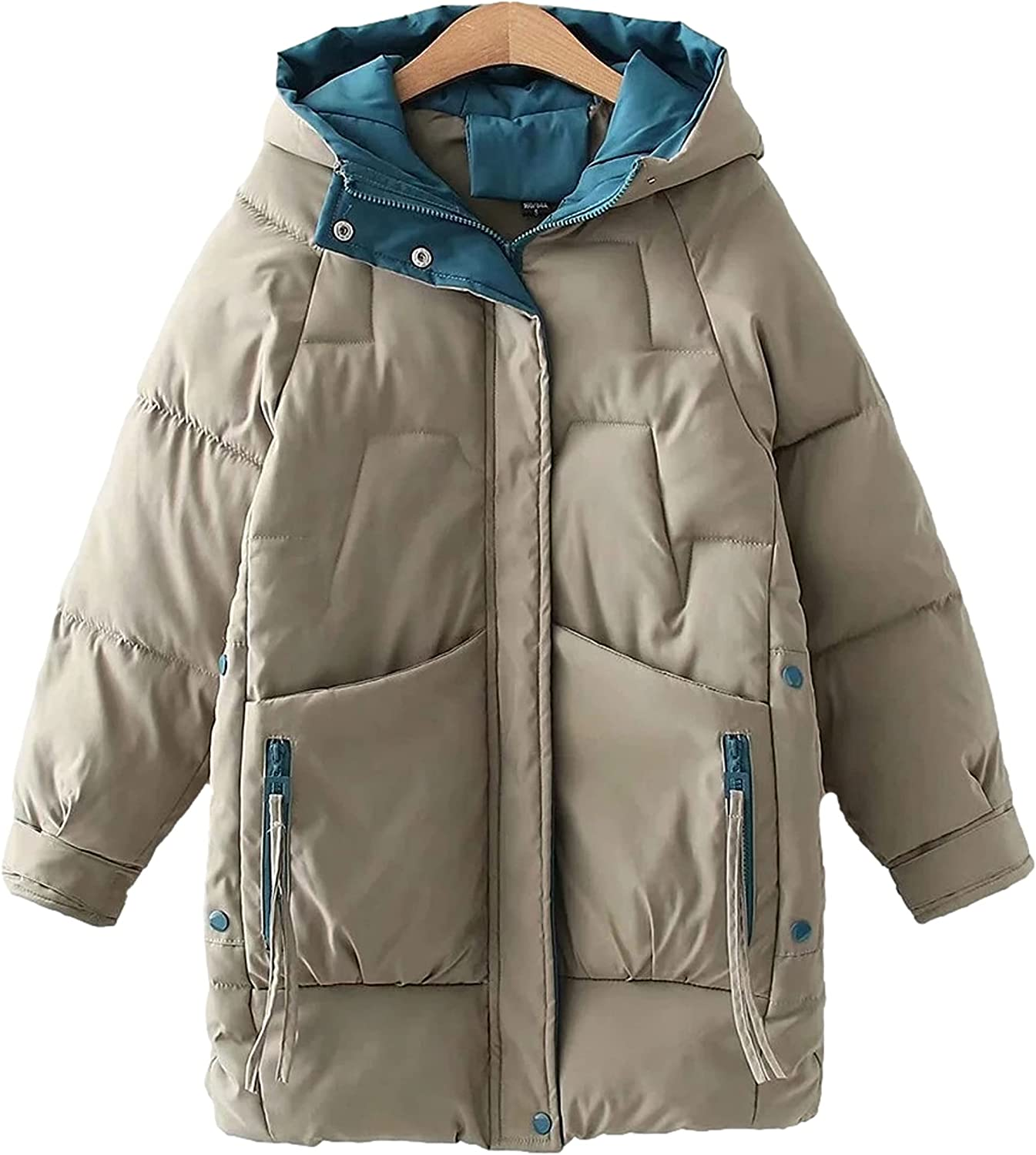 HangNiFang Womens Winter Warm Quilted Cotton Jacket Zip Up Padded Thicken Puffer Hooded Coat