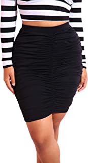 bbbd954e30d7b Women s Club Night Out Cocktail Ruched Black Blue High Waist Mini Skirt  Plus Sizes