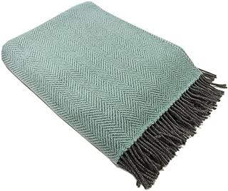 "Biddy Murphy Wool Throw Blanket Irish Merino Wool & Cashmere Teal Herringbone 54"" Wide by 71"" Long Super Soft & Warm Housewarming Made in Ireland"