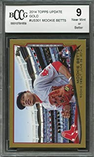2014 topps update gold #301 MOOKIE BETTS rookie card (50-50 CENTERED) BGS BCCG 9 Graded Card