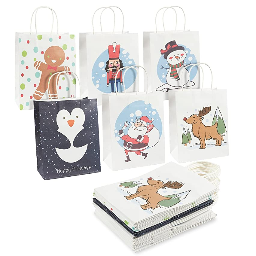 24-Pack Christmas Gift Bags - Kraft Paper Bags, Paper Bags with Handles for Shopping, Christmas Gifts, 6 Assorted Designs - 10 x 4.25 x 8 Inches