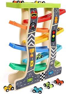 comprar comparacion Lewo Juguetes para niños pequeños Racer de madera de la rampa para 1 2 3 años de edad, niñas niños Pista de carreras de ma...