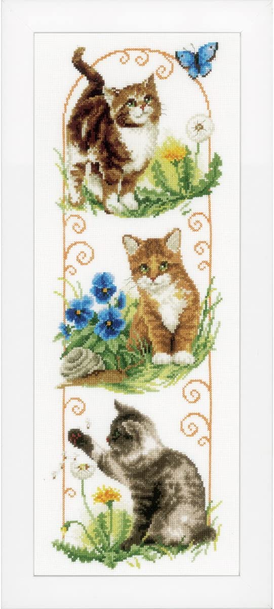 Excellence Atlanta Mall Vervaco Exploring Cats Banner Cross-Stitch Counted Kit