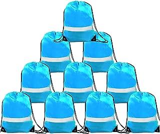 Drawstring Backpack Bag - 10 Pack Reflective Sack Backpack Sport Gym Cinch Bag Travel Fabric Drawstring Backpacks