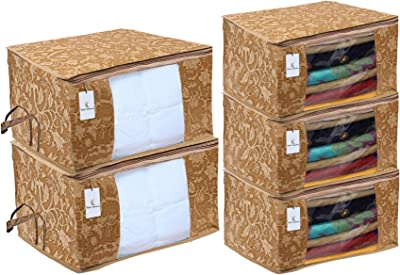 Kuber Industries Metallic Printed Non Woven 3 Pieces Saree Cover and 2 Pieces Underbed Storage Bag, Cloth Organizer for Storage, Blanket Cover Combo Set (Beige) -CTKTC038562