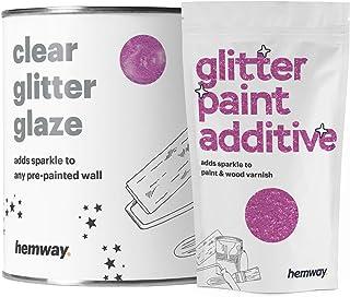 Hemway Clear Glitter Paint Glaze (Lavender) 1L / Quart for Pre-Painted Walls Acrylic, Latex, Emulsion, Ceiling, Wood, Varn...