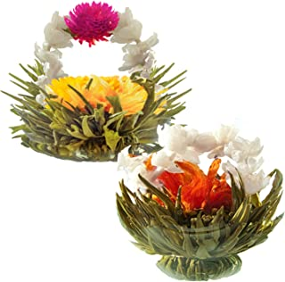 Jasmine Flowering Teas – Fairy Lily and Eternal Love Blooming Tea Flowers – Hand-Tied Flowering Tea Balls - Each Tea Blossom Can Be Used Multiple Times (2-Pack)