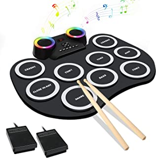 MoKasi Led Electronic Drum Pad Set - Electric Drum Set Roll Up Practice Mini Drum Machine Kit with Headphone Jack Built-in Bluetooth Speaker/Drums Stick/Foot Pedals/Battery Beginners Machine Kids Gift