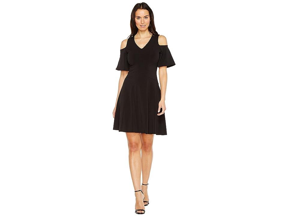 Karen Kane Cold Shoulder Travel Dress (Black) Women