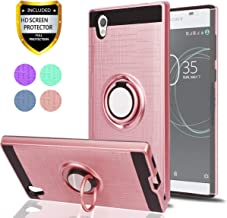 Sony Xperia L1 Case with HD Phone Screen Protector,Ymhxcy 360 Degree Rotating Ring & Magnetic Bracket Dual Layer Shock Bumper Cover for Sony Xperia L1 2017 (5.5