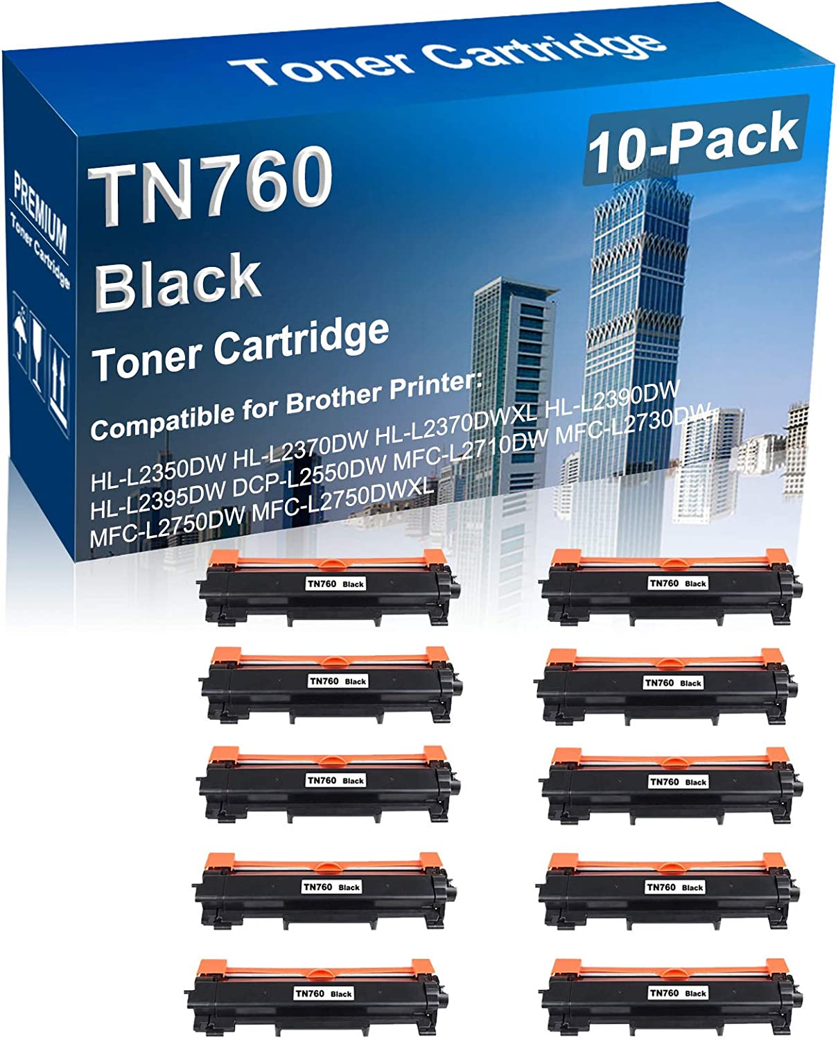 10-Pack Compatible Toner Cartridge Replacement Brother for Fees free Ranking TOP8 TN760