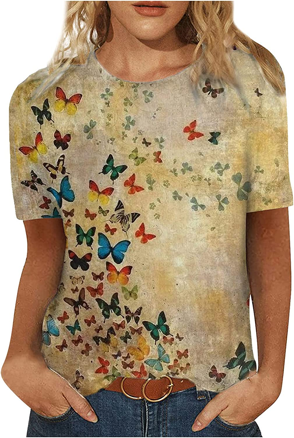 Tops for Women Summer Casual Short Sleeve Floral Tees Tunic Tops Workout Shirts Blouses Loose Fit Womens Tshirts