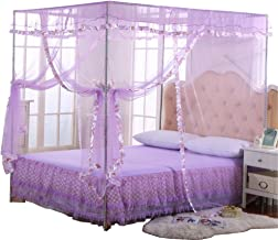 JQWUPUP Mosquito Net for Bed - 4 Corner Canopy for Beds, Canopy Bed Curtains, Bed Canopy for Girls Kids Toddlers Crib, Bedroom Decor (Twin Size, Purple)