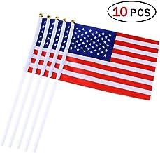 Banderas Pequeñas,Banderas de Mano,Bandera de Estados Unidos con 14 x 21 CM Juego de 10 PCS Mini Bandera Nacional Mini Bandera Estados Unidos