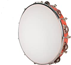 Kannan Musical Instruments Tambourine, 12 inch (with head), Red