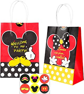 BEYUMI Goodie Candy Treat Bag Mickey Minnie Inspired Party Favor Supplies, 12 PCS Handle Mickey Thanksgiving Day Christmas Gift Party Paper Bags with Stickers for Kids Birthday Baby Shower & Wedding