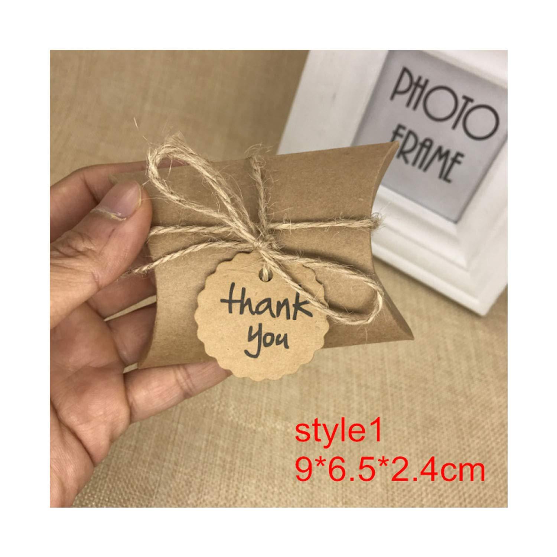 10pcs Kraft Paper Pillow/Square Candy Box Rustic Wedding Favors