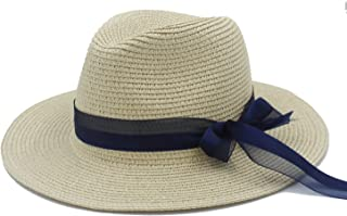 Straw Sun Hats For Women With Pamelas Sombreros Bodas Female Queen Summer Beach Hats Vacation Travel Wide Brimmed Sunhat (Color : 4, Size : 56-58CM)