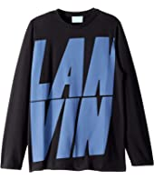 Lanvin Kids - Long Sleeve T-Shirt with Oversized Printed Logo (Big Kids)