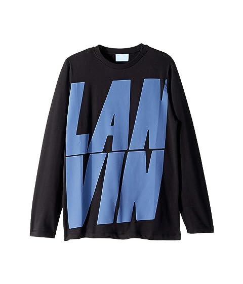 Lanvin Kids Long Sleeve T-Shirt with Oversized Printed Logo (Big Kids)