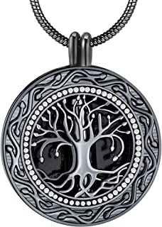 Ado Glo ❤️Memorial Gifts❤️ 'Always in My Heart' 1 or 2 Vials Urn Locket Pendant Necklace, Tree of Life' Cremation Jewelry for Ashes, Easter Keepsake for Dad Sister Grandma Aunt Wife Daughter Mom