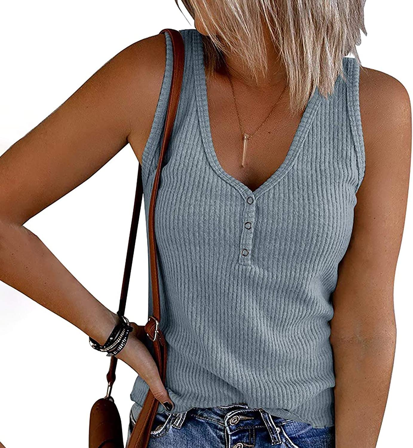 Summer Tops for Women Casual,Womens Tank Tops V Neck Sleeveless Loose Button Up Henley Tee Shirts Blouse Vest Tunic