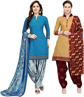 Rajnandini Women's Blue And Beige Cotton Printed Unstitched Salwar Suit Material (Combo Of 2) (Free Size)