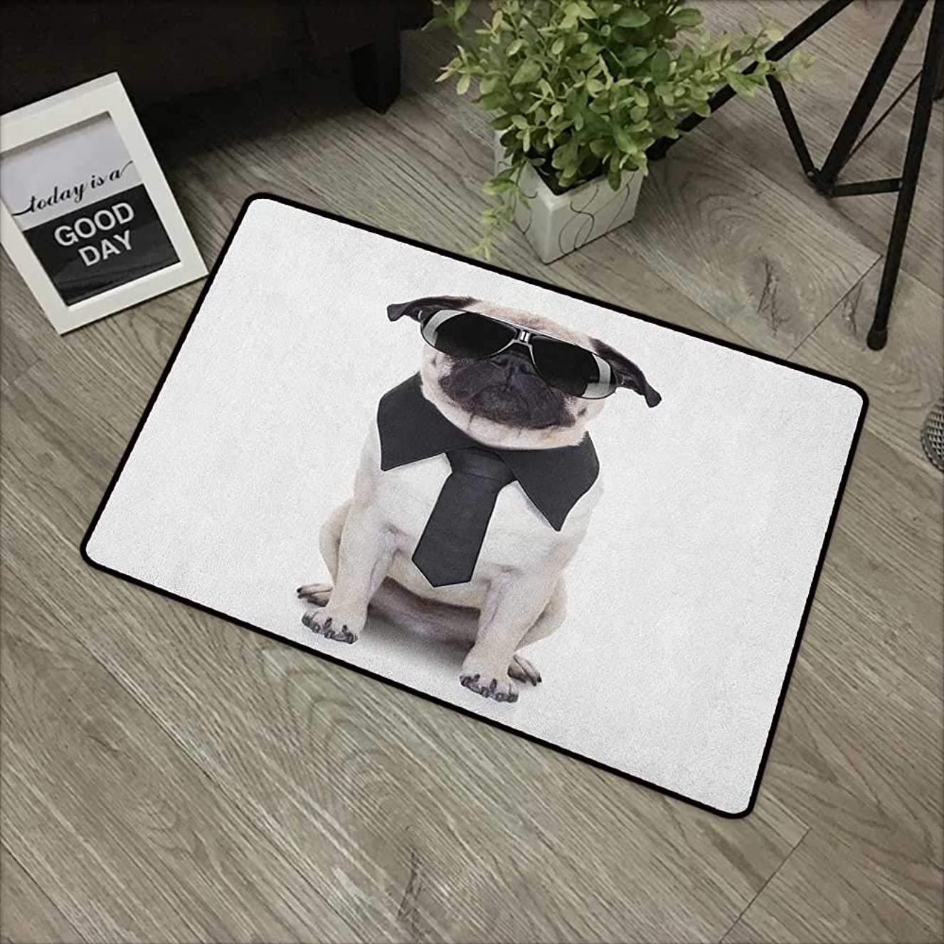 Bathroom Anti-Slip Door mat W35 x L47 INCH Pug,Cool Looking Dog Tie and Big Fancy Black Sunglasses Funny Canine Animal Comedy Image, Black Cream Easy to Clean, Easy to fold,Non-Slip Door Mat Carpet