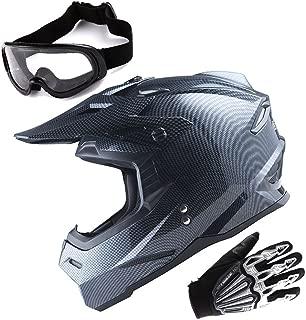 1Storm Adult Motocross Helmet BMX MX ATV Dirt Bike Helmet Racing Style Carbon Fiber Black; + Goggles + Skeleton Black Glove Bundle