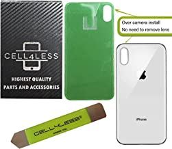 CELL4LESS Back Glass Replacement Compatible w/The iPhone X Including Wide Camera Hole, Adhesive & Removal Tool (Silver)