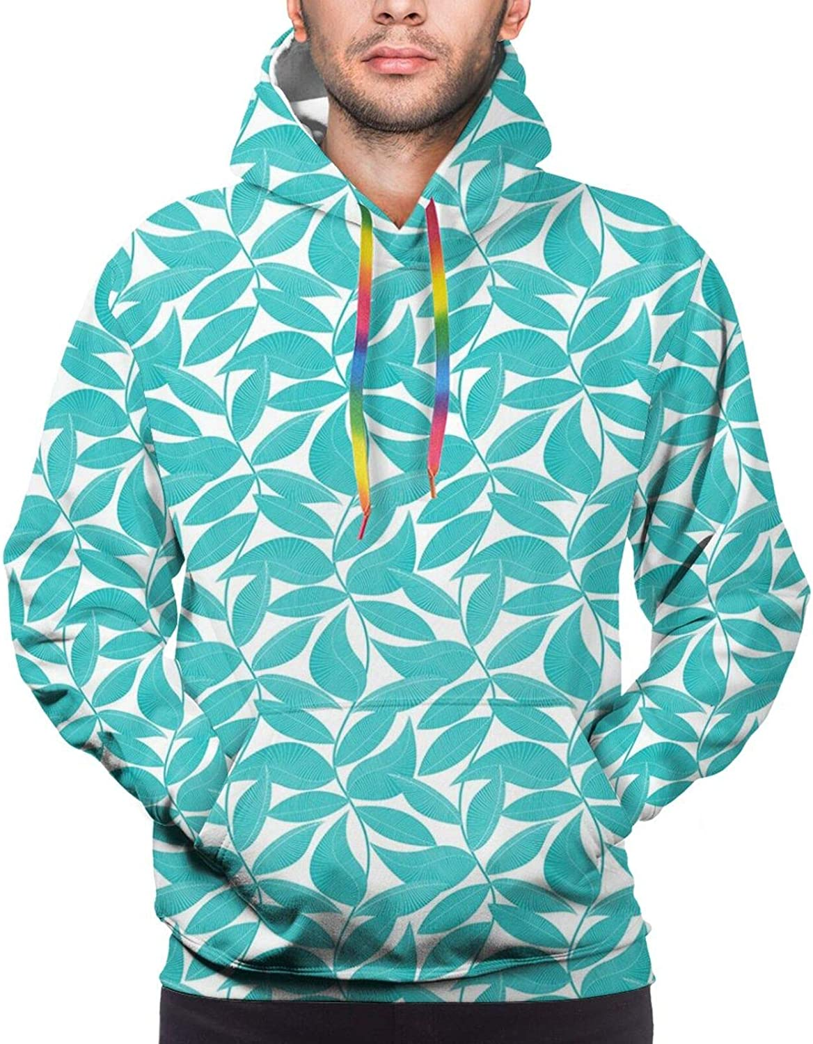 Men's Hoodies Sweatshirts,Foliage Pattern with Dark Toned Backdrop Doodle Style Composition of Nature Image