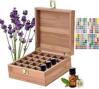 Songlela Boîte de Rangement pour Huiles Essentielles, Bambou d'Huile Aromathérapie de Stockage Organisateur pour 25 Boutei...