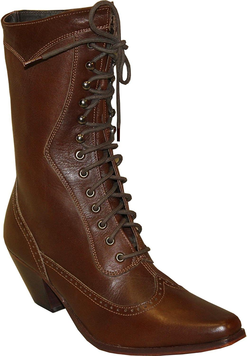 Abilene Women's Rawhide by 8  Victorian Lace Up Boot Snip Toe Brown 6.5 M