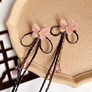 REXI Handmade Embroidery Butterfly Barrettes Bow Tassel Alligator Clip Baby Girl Hair Clips Toddlers Infants Kids Head-wea...