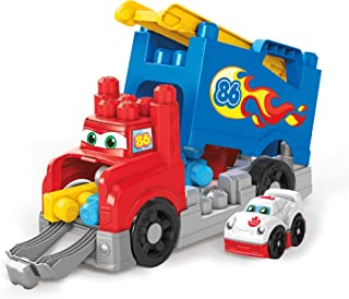 Mega Bloks First Builders Build & Race Rig with Big Building Blocks, Building Toys for Toddlers (16 Pieces) FVJ01