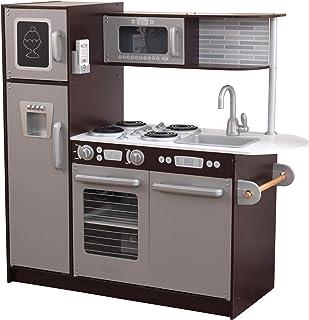 KidKraft Uptown Espresso Wooden Play Kitchen with Play Phone, Chalkboard & Towel..