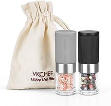vkchef Mini Salt and Pepper Grinder Set, Adjustable Coarseness Ceramic Portable Handy..