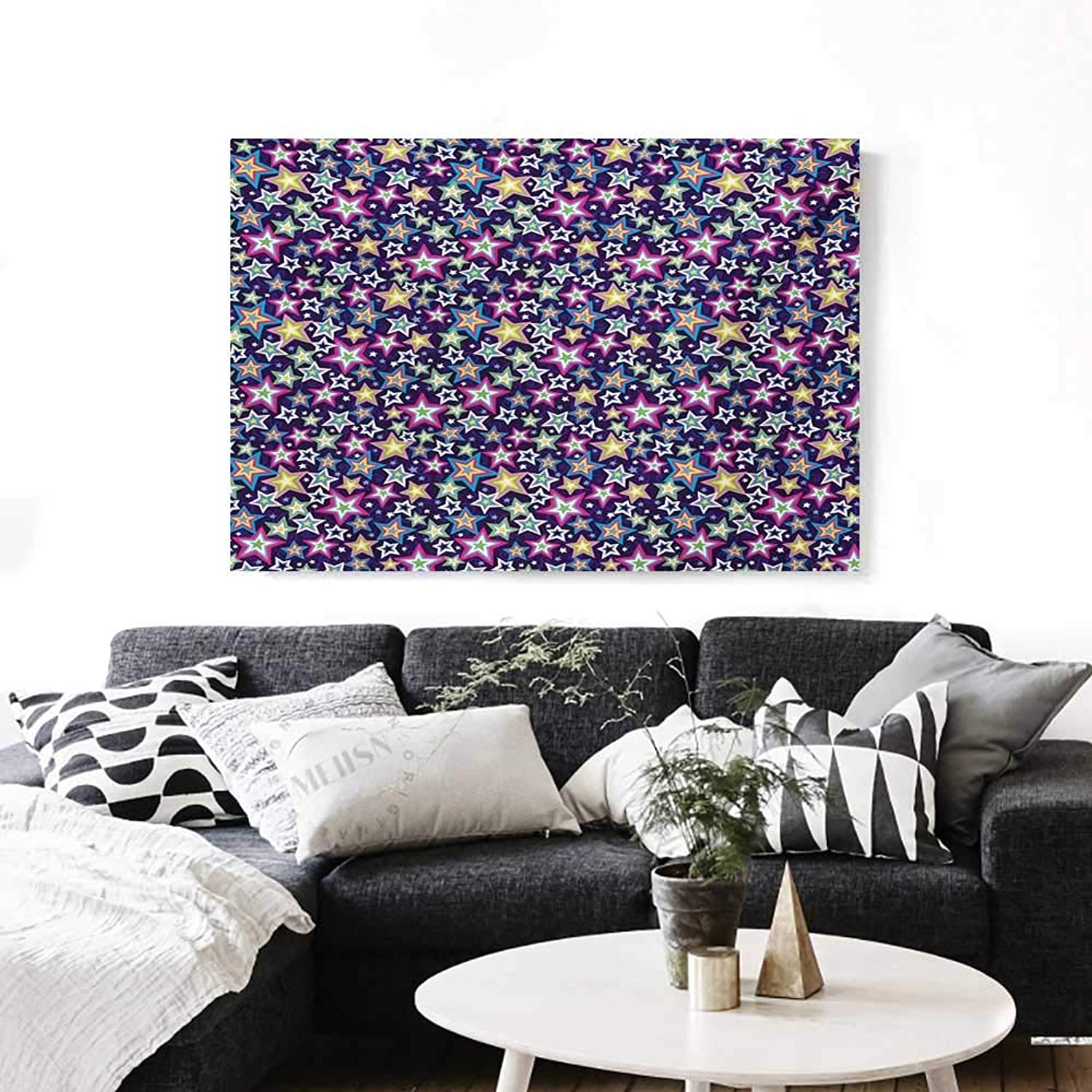 BlountDecor Star Canvas Wall Art for Bedroom Home Decorations Multicolord Stars in Different Shapes Space Universe Themed Image Abstract Background Art Stickers 48 x32  Multicolor